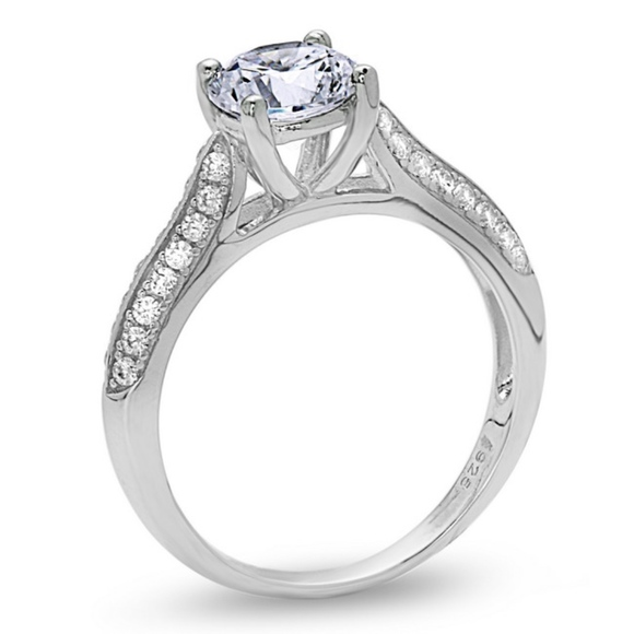 Us925 Jewelry Solitaire Engagement Ring Micro Pave Prong Set Poshmark